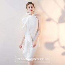 Load image into Gallery viewer, The Odellia Toga Sleeveless White Pink Dress - WeddingConfetti