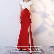 Load image into Gallery viewer, The Opedia Off Shoulder Black/Red White Dress - WeddingConfetti