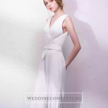 Load image into Gallery viewer, The Oorelle Toga Colour Block White and Black Pantsuit - WeddingConfetti