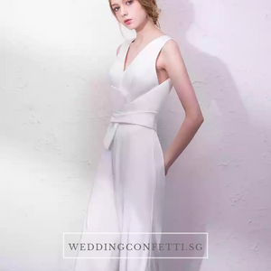 The Oorelle Toga Colour Block White and Black Pantsuit - WeddingConfetti