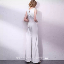 Load image into Gallery viewer, The Oorelle Toga Colour Block White and Black Pantsuit