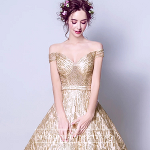 The Galene Gold Short Sleeves Gown - WeddingConfetti