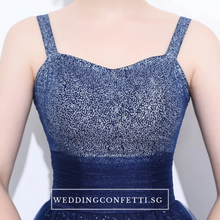 Load image into Gallery viewer, The Delia Blue Glitter Sleeveless Dress - WeddingConfetti