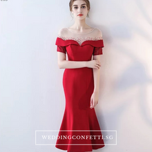 Load image into Gallery viewer, The Heriette Red Glitter Off Shoulder Mermaid Short Dress - WeddingConfetti