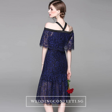 Load image into Gallery viewer, The Georgina Off Shoulder Blue Lace Dress - WeddingConfetti