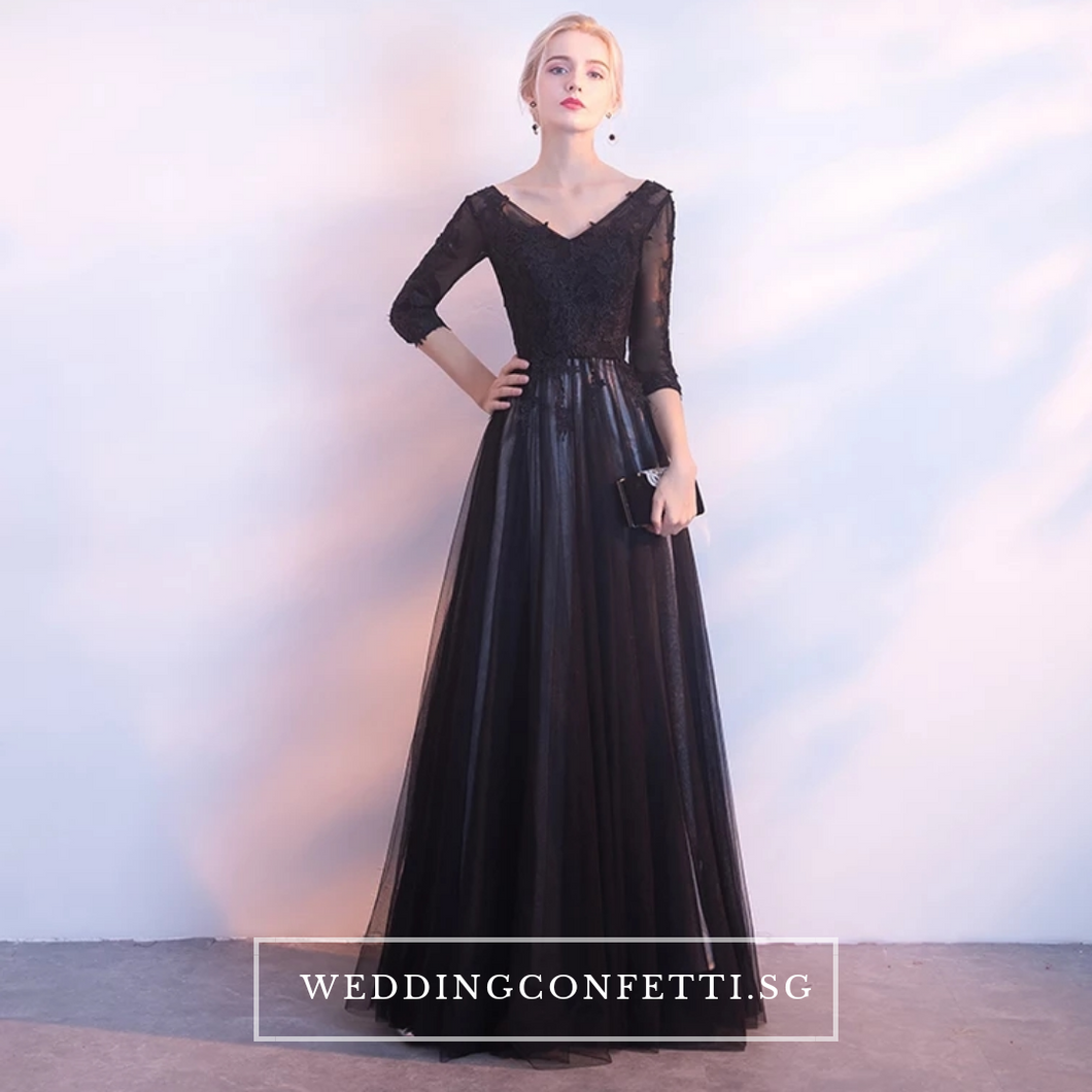 The Kastine Black Illusion Long Sleeves Dress - WeddingConfetti