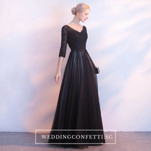 Load image into Gallery viewer, The Kastine Black Illusion Long Sleeves Dress - WeddingConfetti