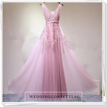 Load image into Gallery viewer, The Pierina Tulle Sleeveless Pink / Grey / Red Lace Floral Gown (Customisation Available) - WeddingConfetti