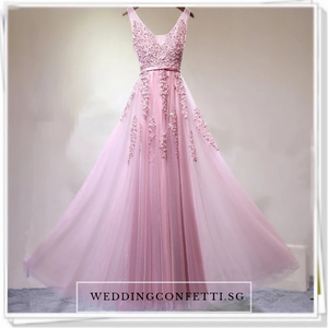 The Pierina Tulle Sleeveless Pink / Grey / Red Lace Floral Gown (Customisation Available) - WeddingConfetti