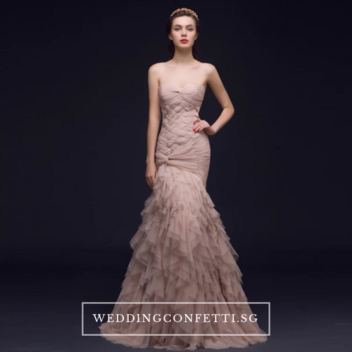 The Carlista Beige / Red Tube Dress - WeddingConfetti