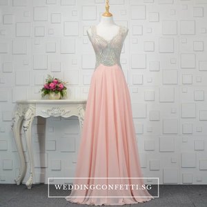The Xandora Crystals Pink / Red / Blue Sleeveless Gown - WeddingConfetti