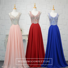 Load image into Gallery viewer, The Xandora Crystals Pink / Red / Blue Sleeveless Gown - WeddingConfetti