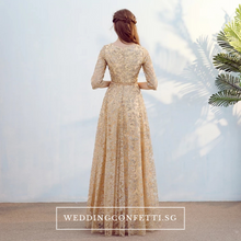 Load image into Gallery viewer, The Mydina Gold / Royal Blue / Red / Navy Blue Long Sleeves Dress - WeddingConfetti
