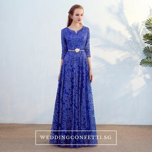 The Mydina Gold / Royal Blue / Red / Navy Blue Long Sleeves Dress - WeddingConfetti
