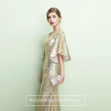 Load image into Gallery viewer, The Valentina Gold Sequins Long Sleeves Gown - WeddingConfetti