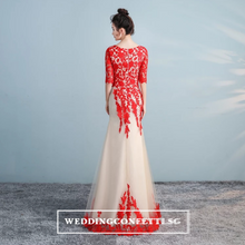 Load image into Gallery viewer, The Lerainne Champagne Red Long Sleeves Dress - WeddingConfetti
