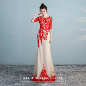 The Lerainne Champagne Red Long Sleeves Dress - WeddingConfetti