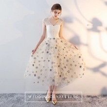 Load image into Gallery viewer, The Kessalyn Champagne Stars Short Sleeves Dress - WeddingConfetti