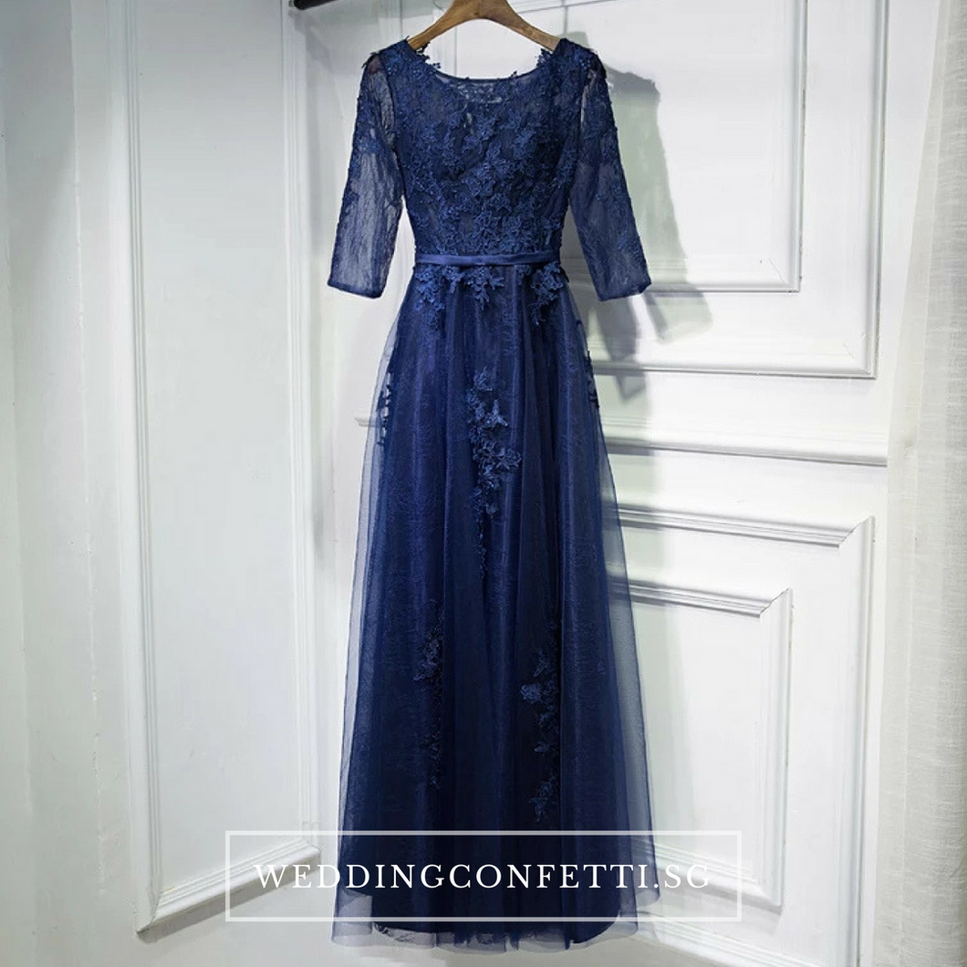The Meredy Lace Long Sleeve Midnight Blue / Grey Gown (Available in 2 colours) - WeddingConfetti
