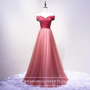 The Erynda Grey/Wine Red Off Shoulder Gown