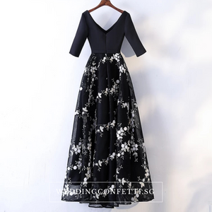 The Dacey Black Long Sleeves Floral Lace Evening Dress