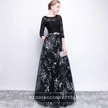Load image into Gallery viewer, The Daphne Black Illusion Long Sleeves Lace Dress - WeddingConfetti