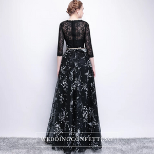 The Daphne Black Illusion Long Sleeves Lace Dress - WeddingConfetti