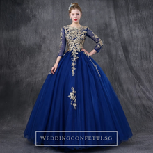 Load image into Gallery viewer, The Rosella Royal Blue/Red/Fuschia/Champagne Long Sleeves Gown (Available in 4 Colours) - WeddingConfetti