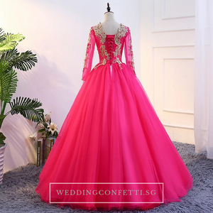 The Rosella Royal Blue/Red/Fuschia/Champagne Long Sleeves Gown (Available in 4 Colours) - WeddingConfetti