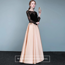 Load image into Gallery viewer, The Chantelle Champagne Lace Long Sleeves Gown - WeddingConfetti