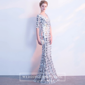 The Jhovana Rose Gold/Silver/Black Long Sleeves Gown - WeddingConfetti