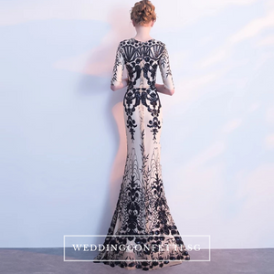 The Jhoviani Champagne/Black Long Sleeves Gown - WeddingConfetti