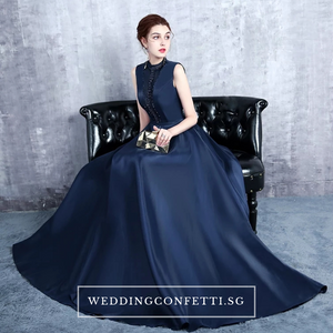 The Erinza Navy Blue Sleeveless Satin Dress - WeddingConfetti