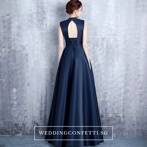 The Erinza Navy Blue/Wine Red Sleeveless Satin Dress - WeddingConfetti
