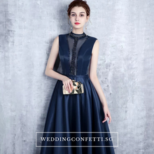 Load image into Gallery viewer, The Erinza Navy Blue Sleeveless Satin Dress - WeddingConfetti