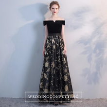 Load image into Gallery viewer, The Jardine Black Embroiderd Lace Off Shoulder Gown - WeddingConfetti