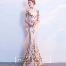 Load image into Gallery viewer, The Jhoviani Champagne/Black Long Sleeves Gown - WeddingConfetti