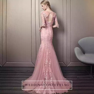 The Noreena Pink Mermaid Illusion Neckline Long Sleeves Gown - WeddingConfetti