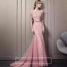 Load image into Gallery viewer, The Noreena Pink Mermaid Illusion Neckline Long Sleeves Gown - WeddingConfetti