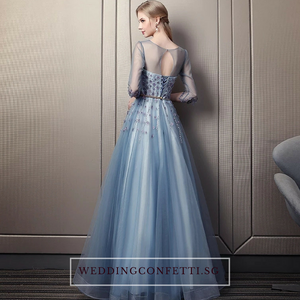 The Rerraine Blue Illusion Neckline Long Sleeves Gown - WeddingConfetti