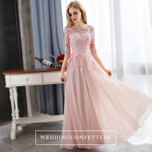 The Sophiella Long Illusion Sleeves Pink / Red Gown - WeddingConfetti