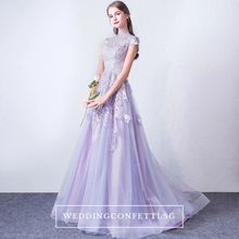 Load image into Gallery viewer, The Levan Lilac High Neck Cheongsam Gown - WeddingConfetti
