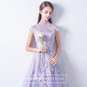 The Levan Lilac High Neck Cheongsam Gown - WeddingConfetti