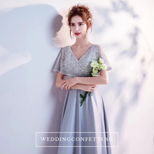Load image into Gallery viewer, The Silvia Bridal Wedding Grey Short Sleeves Dress - WeddingConfetti