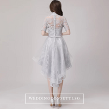Load image into Gallery viewer, The Raquelle Mandarin Collar Grey Hi Low Lace Dress - WeddingConfetti