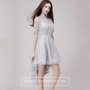 The Raquelle Mandarin Collar Grey Hi Low Lace Dress - WeddingConfetti