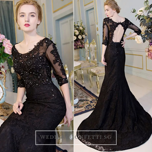 The Kastina Black Illusion Long Sleeves Dress - WeddingConfetti