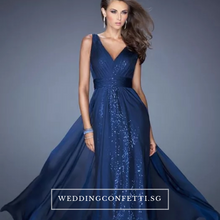 Load image into Gallery viewer, The Melania Blue/Red/Champagne V Neck Sleeveless Sequins Gown - WeddingConfetti