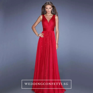The Melania Blue/Red/Champagne V Neck Sleeveless Sequins Gown - WeddingConfetti