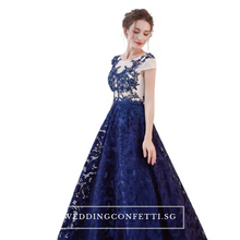 Load image into Gallery viewer, The Kresalyn Navy Blue Sleeveless Lace Gown